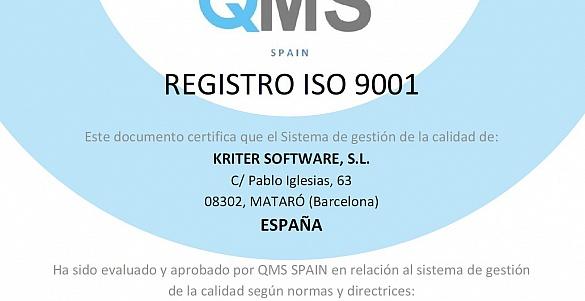 KRITER RENUEVA, un año más, la certificación ISO 9001:2015