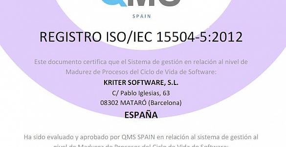 KRITER RENUEVA por segundo año consecutivo la certificación ISO 15504