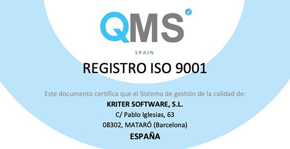 Kriter renueva la certificación ISO 9001:2015 de Sistemas de Gestión de Calidad