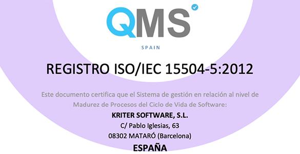 Kriter renueva la certificación ISO 15504-5:2012 de Madurez de Procesos de Ciclo de Vida de Software